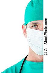 cirurgião, máscara cirúrgica, close-up, desgastar