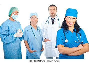 cirurgião, mulher, e, dela, equipe