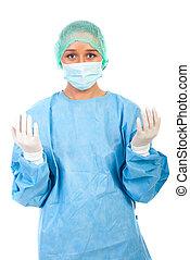 cirurgião, mulher, preparar, para, cirurgia