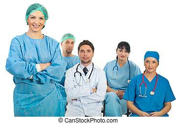 cirurgião, mulher, professor