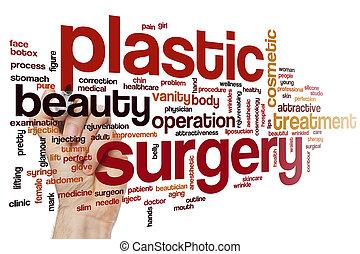 cirurgia, palavra, nuvem, plástico