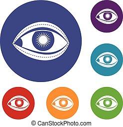 cirurgia plástica, jogo, olho, ícones