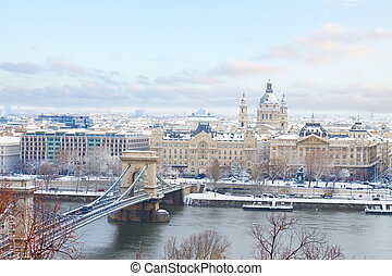 Cityscape of Budapest at winter day, Hungary