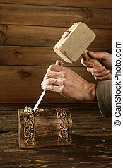 ciseau, et, bois, marteau