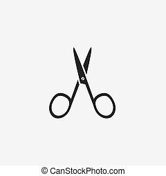 ciseaux à ongles, noir, manucure, icône