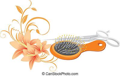 ciseaux, brosse cheveux, lis