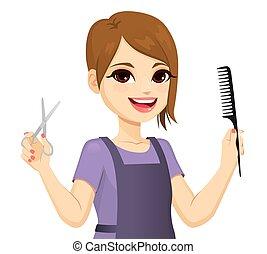 ciseaux, brosse, tenue, coiffeur