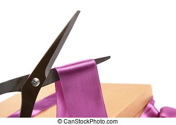 ciseaux, découpage, cadeau, ruban, wrapping: