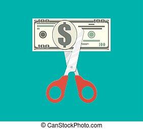 ciseaux, découpage, dollar, billet banque