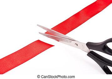 ciseaux, découpage, ruban rouge