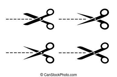 ciseaux, icônes, ensemble, découpage, ligne