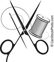 ciseaux, symbole, aiguille, fil