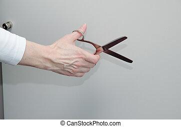 ciseaux, tenant main