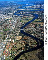 cisne, 2, aéreo, río, vista