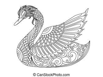 cisne, colorido, página