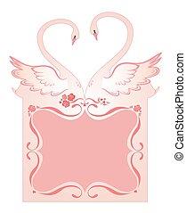 cisnes, cartão cumprimento, casório