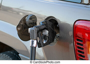 cistern, pump, bil, gas, uppe, fyllande, 2