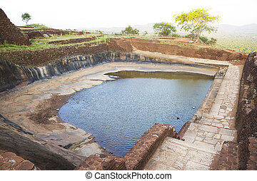 cisterna, antiga, sigiriya, sri lanka