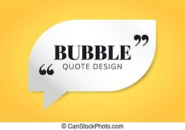 citação, desenho, modelo, em branco, bolha, vazio