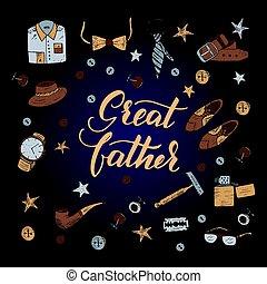 citação, grande, father., excelente, feriado, card.
