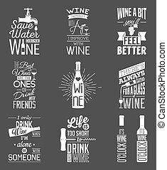 citação, jogo, vinho, tipográfico, vindima