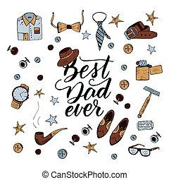 citação, melhor, pai, ever., excelente, feriado, card.