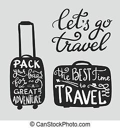citação, viagem, inspiração, silueta, mala