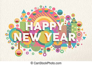 cita, cartel, ilustración, año, 2015, nuevo, feliz
