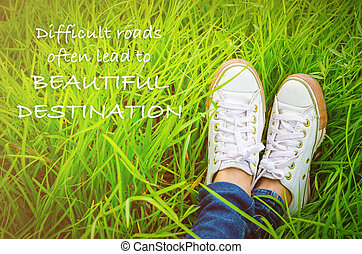 cita, inspirador, destino, caminos, a menudo, difícil, hermoso, :, plomo