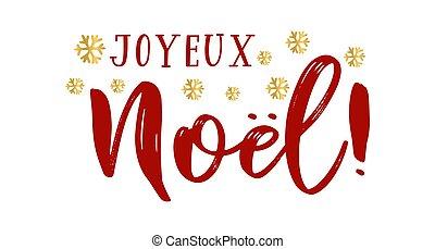 cita, joyeux, logotipo, francés, cartel, o, tarjeta, navidad...