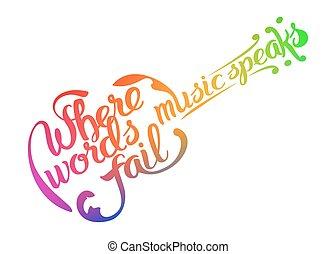 cita, mano, dibujado, guitarra, ilustración, acústico, ...