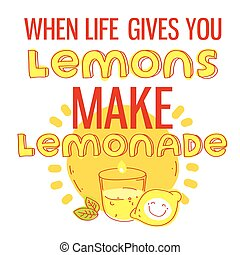 cita, marca, limones, lemonade., cuándo, de motivación, printable, mano, dibujado, da, usted, vida, cartel, lettering.