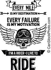 cita, motivación, vector, biker, frase