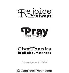 cita, o, thessalonians, biblia, sobre, rogar, cristiano, vuelo, uso, regocíjese, gracias, cartel, elasticidad