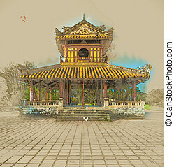 Citadel at Hue in Vietnam - The temple in the Imperial...