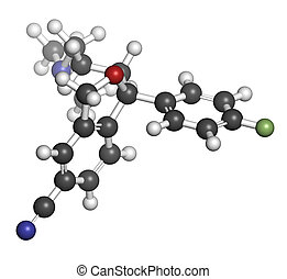Citalopram anti-depressant drug molecule. Atoms are ...