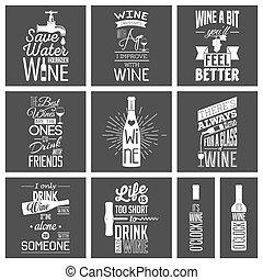 citare, tipografico, vino, set, vendemmia