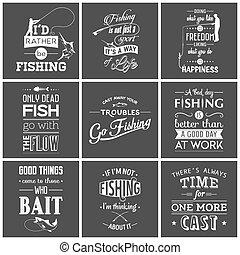 citas, conjunto, tipográfico, vendimia, pesca