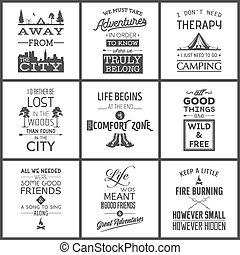 citas, tipográfico, conjunto, campamento, vendimia