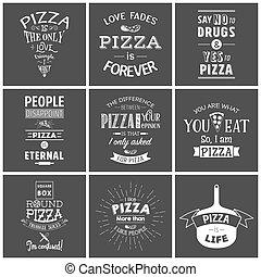 citas, tipográfico, pizza, conjunto, vendimia