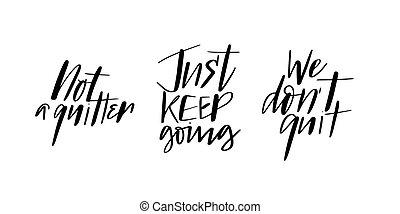 citaten, doodles, borstel, motivatie, kalligrafie, set