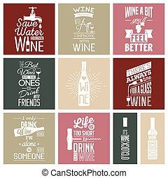 citaten, set, wijntje, typografisch, ouderwetse