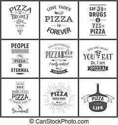 citaten, typografisch, pizza, set, ouderwetse