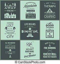 citaten, typografisch, set, kamperen, ouderwetse