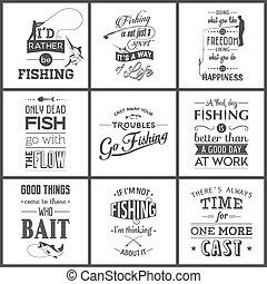citaten, typografisch, set, ouderwetse , visserij