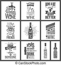 citaten, typografisch, wijntje, set, ouderwetse