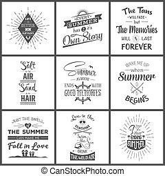 citaten, typografisch, zomer, set, ouderwetse