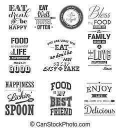 citaten, voedingsmiddelen, typografisch, set, ouderwetse
