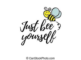 citation, inspirer, abeille, conception, blanc, print., ...