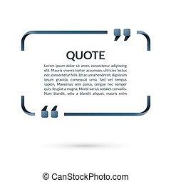 citation, vecteur, citations., box., texte, brackets., vide, cadre, bubble., parole, illustration